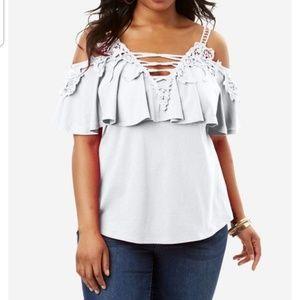 ROAMAN'S white lace cold shoulder blouse